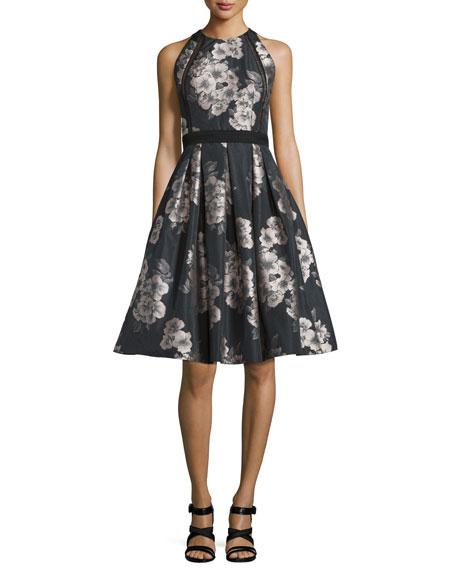 Carmen Marc ValvoSleeveless Floral Jacquard Party Dress