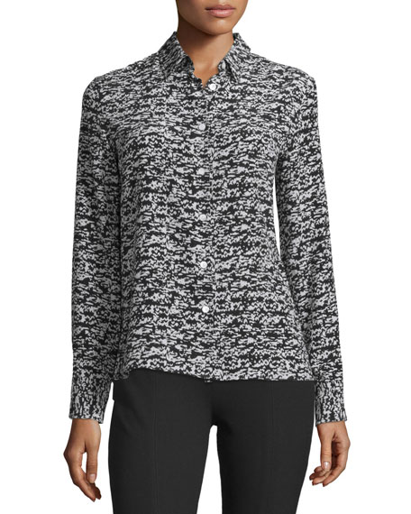 Rag & Bone Poppy Abstract-Print Silk Shirt, Black Fleck