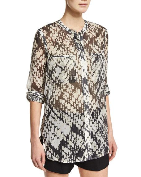 Vince Basketweave-Printed Button-Down Silk Shirt