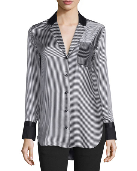 Rag & Bone Farah Silk Charmeuse Striped Blouse,