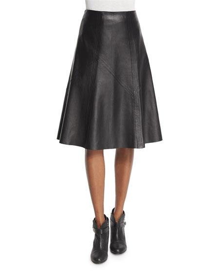 Rag & Bone Kelly Leather A-Line Skirt, Black