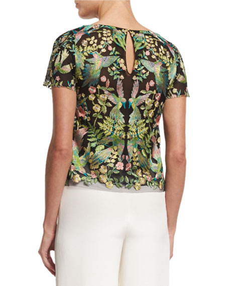 Short-Sleeve Embroidered T-Shirt, Multi Colors