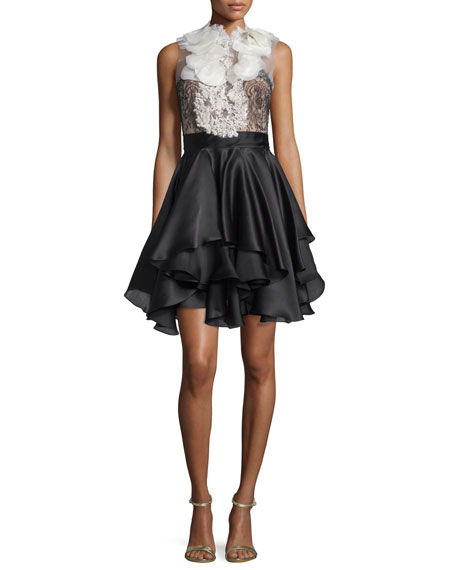 Ruffled Full-Skirt Cocktail Dress, Ivory/Black