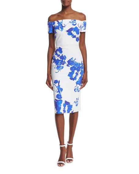 Off-the-Shoulder Floral-Print Sheath Dress