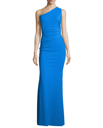 One-Shoulder Strappy-Back Gown