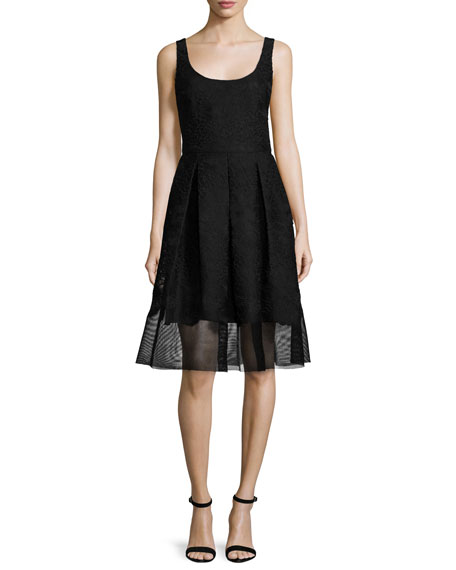 Badgley Mischka Fit-&-Flare Mesh-Hem Dress, Black
