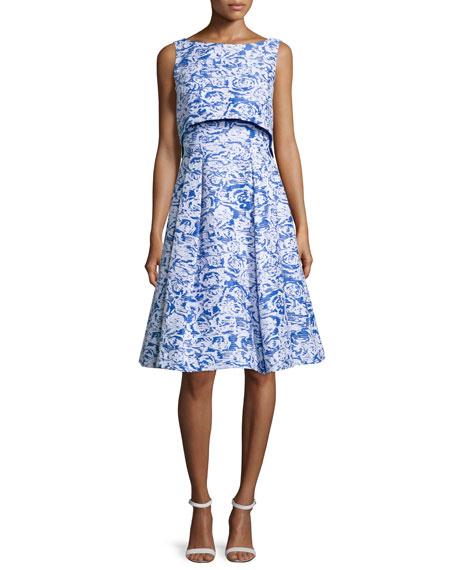 Badgley Mischka Sleeveless Floral-Print Popover Dress, Ocean