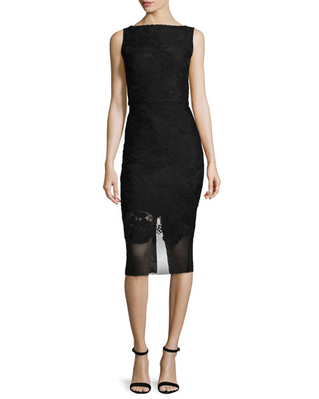 Badgley Mischka Bateau-Neck Mesh-Hem Sheath Dress, Black