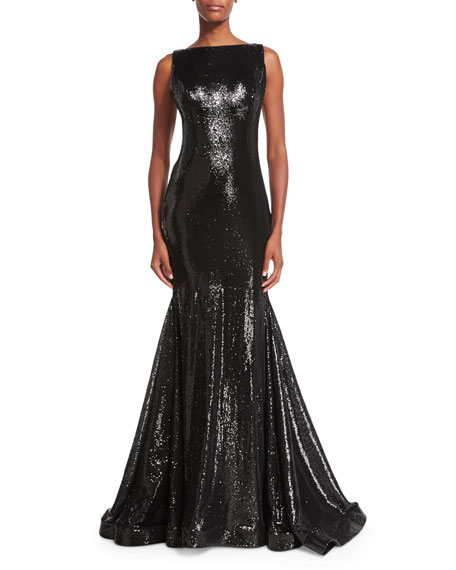 Jovani Sleeveless Bateau-Neck Sequined Mermaid Gown, Black