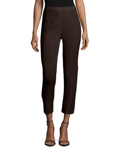 Slim Cropped Ankle Pants, Coffee, Women's