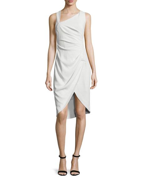 Halston Heritage Sleeveless Tulip-Hem Sheath Dress, Dark Bone