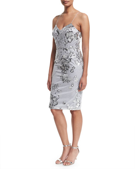 David Meister Sleeveless Fitted Sequined Cocktail Dress, Silver