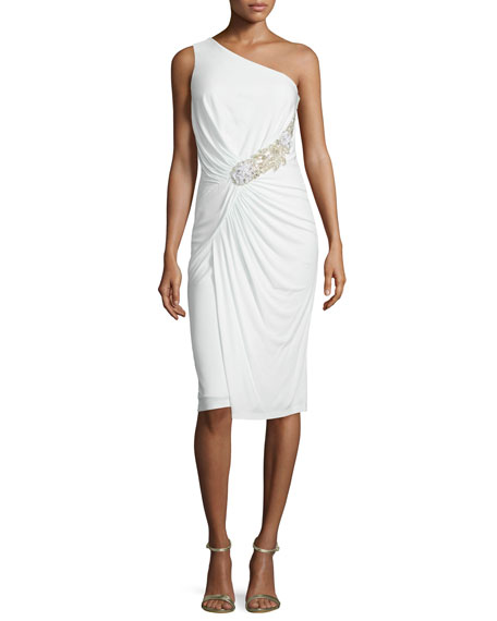 David Meister One-Shoulder Ruched Cocktail Dress