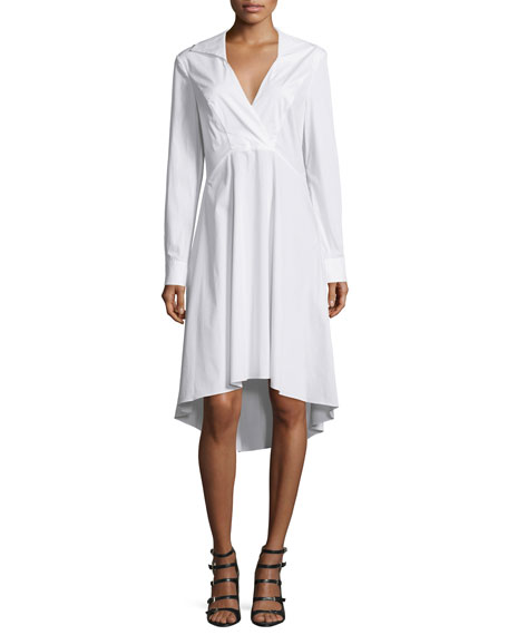 Long-Sleeve V-Neck Shirtdress, Linen White