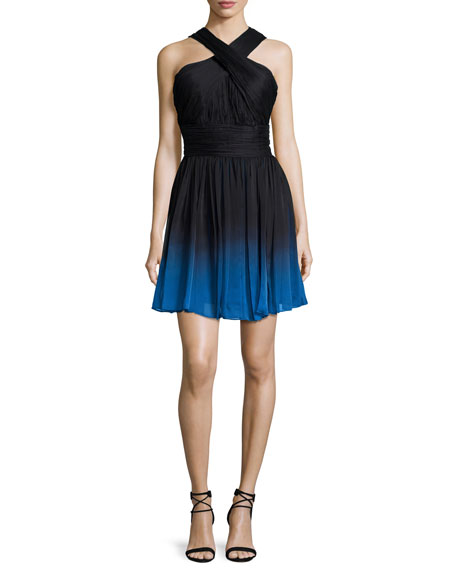 Halston Heritage Crisscross-Neck Ombre Party Dress, Black/Cobalt
