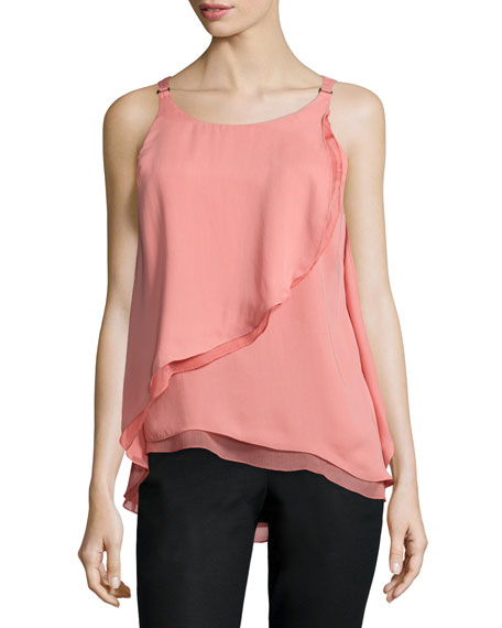 Halston Heritage Sleeveless Flounce-Draped Top, Blush