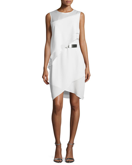 Halston Heritage Sleeveless Asymmetric Sheath Dress, Bone