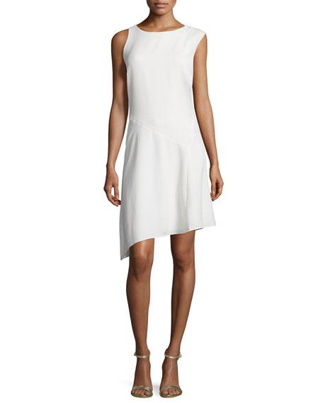 Halston Heritage Round-Neck Angled-Hem Dress, Bone