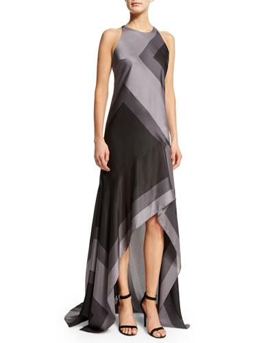 Sleeveless Wide-Striped A-Line Gown, Asphalt