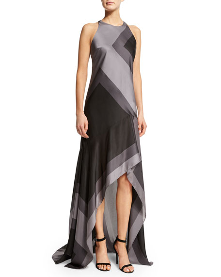 Halston Heritage Sleeveless Wide-Striped A-Line Gown, Asphalt