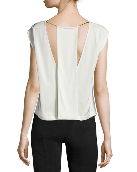 Cap-Sleeve Top W/Back Cutouts, Dark Bone