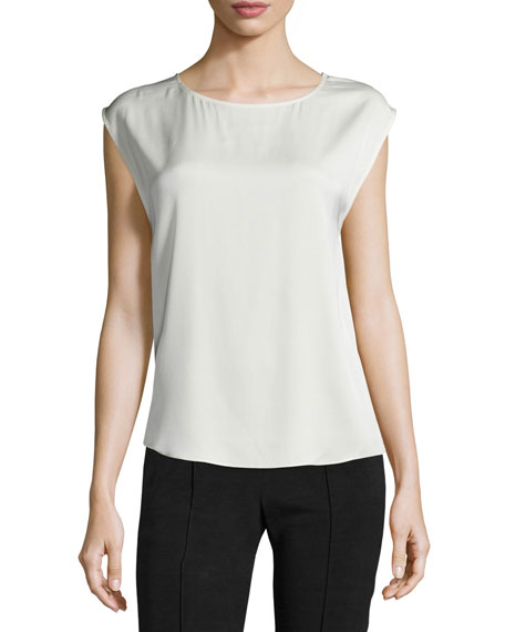 Halston Heritage Cap-Sleeve Top W/Back Cutouts, Dark Bone