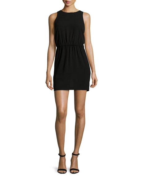 Halston Heritage Sleeveless Cutout-Back Mini Dress, Black