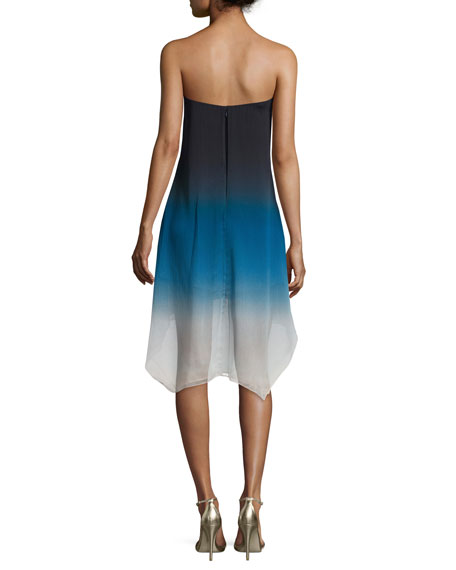 Strapless Ombre High-Low Dress, Atlantic