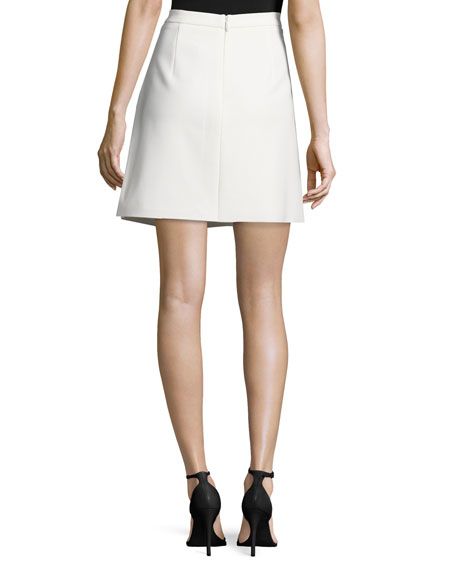 Pleated Structured Skirt, Bone