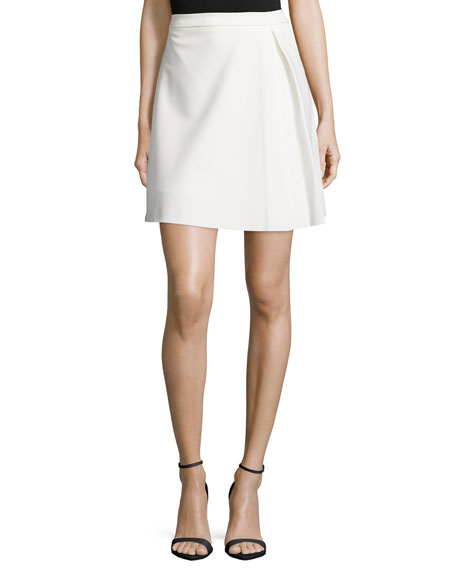 Halston Heritage Pleated Structured Skirt, Bone