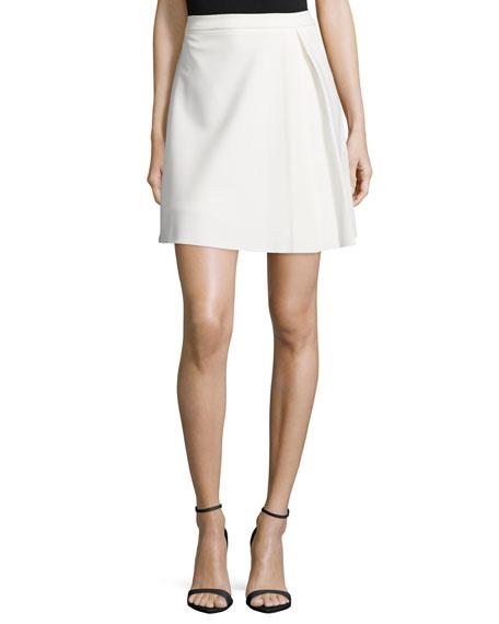 Halston Heritage Pleated Structured Skirt, Bone
