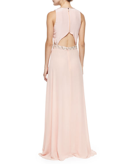 Sleeveless Geo-Bead-Trim Gown, Blush