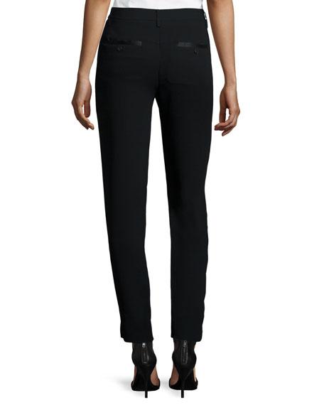 Slim-Fit Ankle Pants, Black