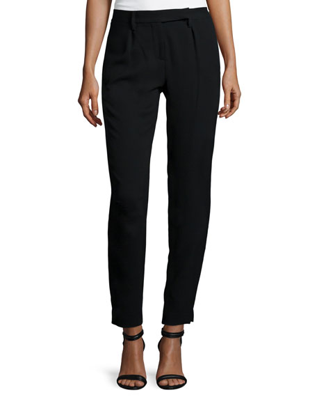Slim-Fit Ankle Pants, Black