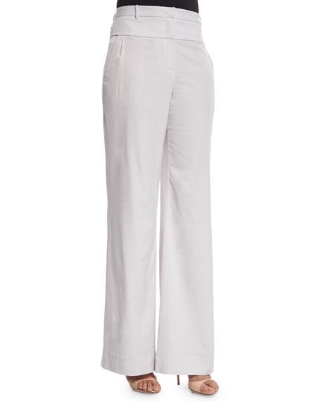 Halston Heritage High-Waist Wide-Leg Pants, Vapor