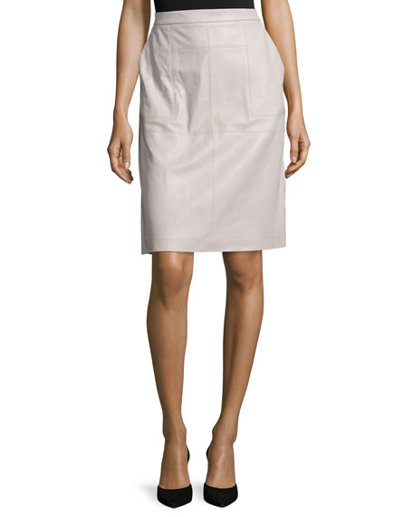 Halston Heritage Leather Straight Skirt, Light Stone
