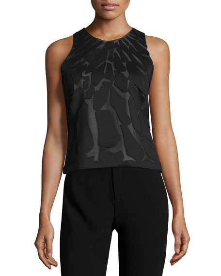 Halston Heritage Sleeveless Embellished Top, Black