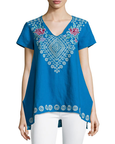 Tara Short-Sleeve Embroidered Linen Tee