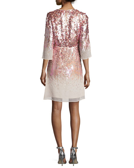 Half-Sleeve Embellished Sheath Dress, Sorbet