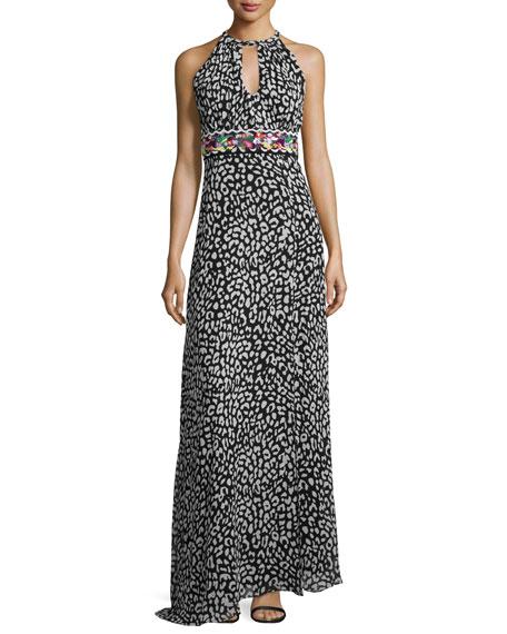 Nicole Miller Wild One Fruit Sleeveless Gown, Black/White