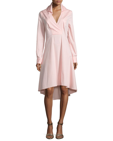 Halston Heritage Long-Sleeve V-Neck Shirtdress, Sorbet