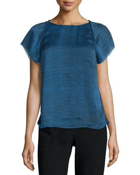 Halston Heritage Short-Sleeve Draped-Back Top, Sky Blue Ombre