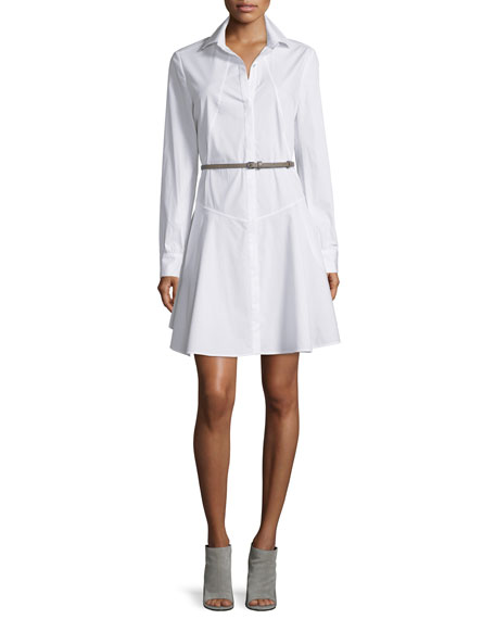 Halston Heritage Long-Sleeve Belted Structured Shirtdress, White