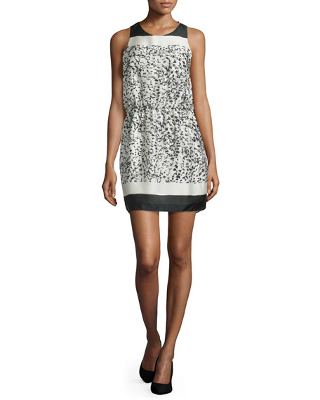 Halston Heritage Sleeveless Two-Tone Mini Dress, Bone Batik
