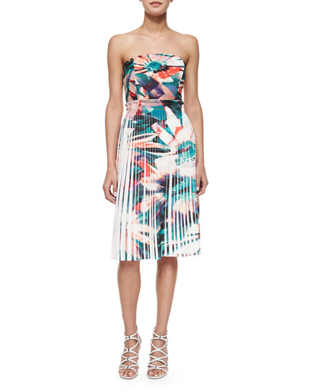 Nicole Miller Strapless Pleated Floral Print Dress