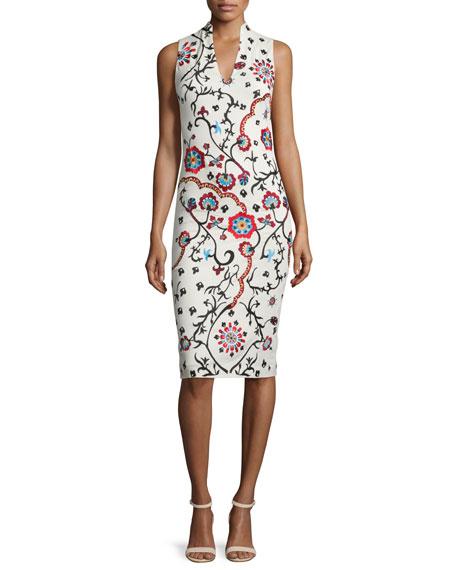 Alice + Olivia Jacki Sleeveless Embroidered Sheath Dress,