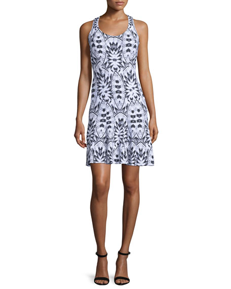 Lumen Sleeveless Printed Sheath Dress, Black/White/Multi