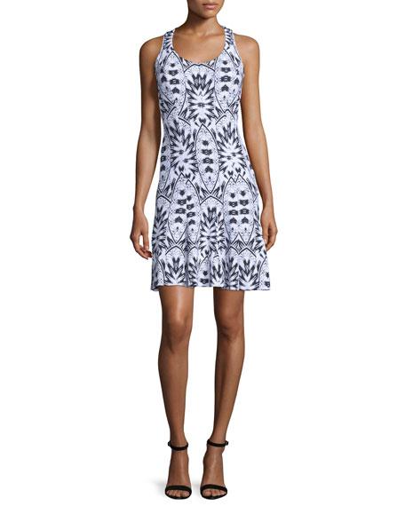 Lumen Sleeveless Printed Sheath Dress, Black/White/Multi