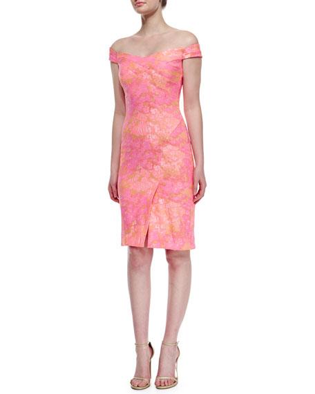 Nicole Miller Off-the-Shoulder Printed Sheath Dress