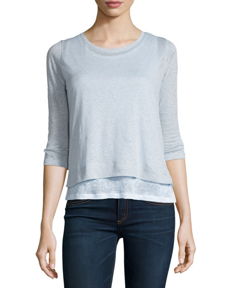 Majestic Paris for Neiman Marcus Linen Double Layer 3/4-Sleeve Top